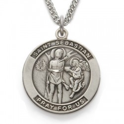 St. Sebastian Sterling Silver Medal Patron Necklace