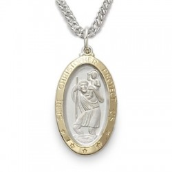 """St. Christopher Sterling Silver Gold-Edged Oval Medal w/20"""" Chain"""