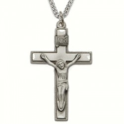 "Mens Crucifix Sterling Silver w/24"" Chain - Boxed"