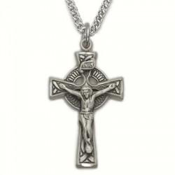 "Mens Celtic Crucifix Sterling Silver w/24"" chain"