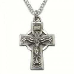 "Mens Celtic Crucifix Sterling Silver w/18"" chain"