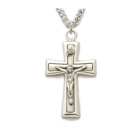 """Mens Crucifix Sterling Silver w/24"""" Chain - Boxed"""