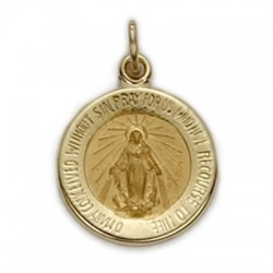 Miraculous Medal 14K Gold Small Round Medal