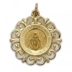 Miraculous Medal 14K Gold on Gold Field Round Medal