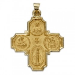 4-Way Cross 14K Gold w/Jesus, Mary, St. Joseph, St. Christopher - Large