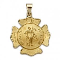 St. Florian 14K Gold Cross Shaped Medal - Firefighter