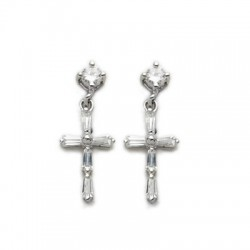 Cross Shaped Sterling Silver CZ Amethyst Earrings