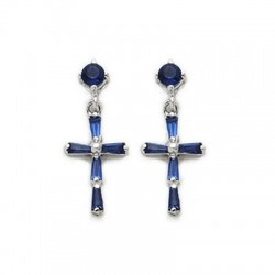 CZ Sapphire Earrings Sterling Silver