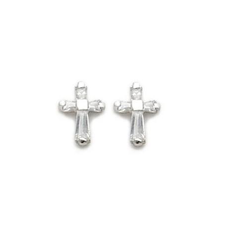 Cross-Shaped Crystal Baguette Earrings Sterling Silver