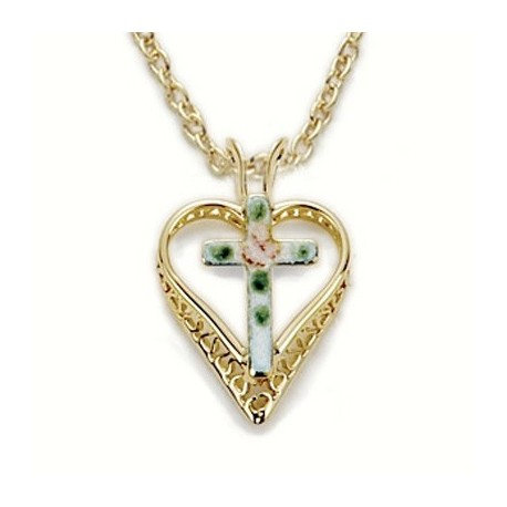 """Cross on Heart Shaped 24K Gold Over Sterling Silver Necklace w/ 18"""" Chain - Boxed"""