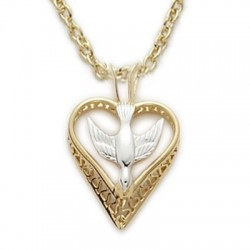 """Holy Spirit Dove Necklace 24K Gold Over Sterling Silver w/18"""" Chain - Boxed"""