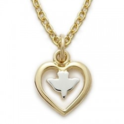 """Heart Shaped with Holy Spirit Dove Necklace 14K Gold Filled w/16"""" Chain - Boxed"""