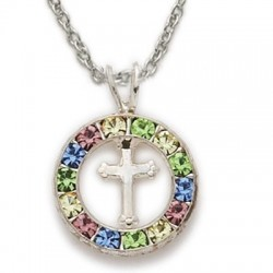 "CZ Jewel Fashion Cross Sterling Silver Colored Crystal Inspirational Necklace w/18"" Chain - Boxed"