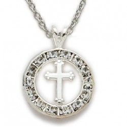 "CZ Jewel Fashion Cross Sterling Silver Crystal Inspirational Necklace w/18"" Chain - Boxed"