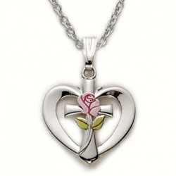 """Heart Shaped with Cross & Rose Sterling Silver Necklace w/18"""" Chain - Boxed"""