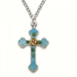 "Blue Colored Cross Sterling Silver Necklace w/18"" Chain - Boxed"