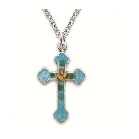 """Blue Colored Cross Sterling Silver Necklace w/18"""" Chain - Boxed"""