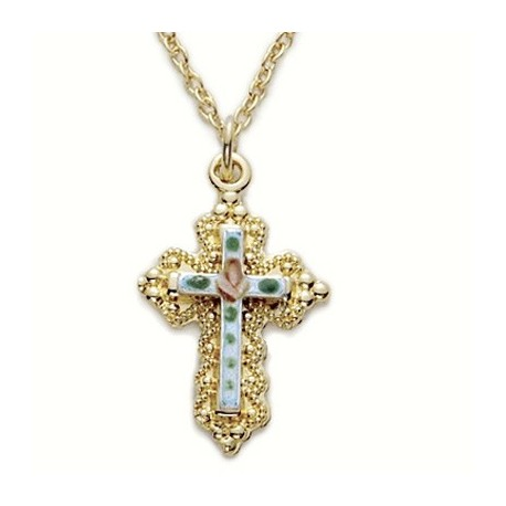 "Blue Cross on 14K Gold Back Filled Necklace w/18"" Chain - Boxed"