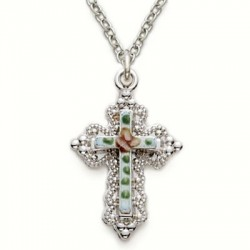 "Cross on Jeweled Back Sterling Silver Necklace w/18"" Chain - Boxed"