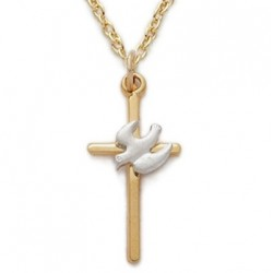 """Gold Cross with Silver Holy Spirit Dove 14K Gold Filled Necklace w/18"""" Chain - Boxed"""