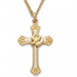 """Gold Cross with Gold Holy Spirit Dove 24K Gold Over Sterling Silver Necklace w/18"""" Chain - Boxed"""