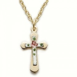 "Cross on Pink Cross 14K Gold Filled Necklace w/18"" Chain - Boxed"