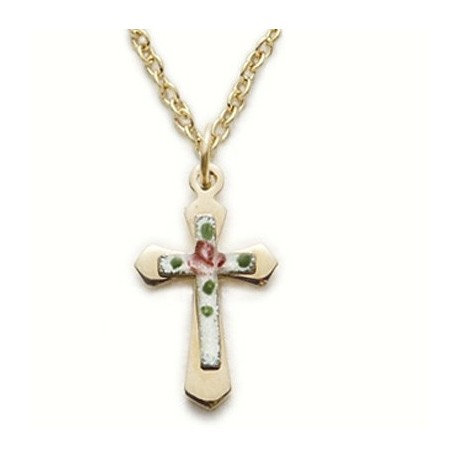 """Cross on Pink Cross 14K Gold Filled Necklace w/18"""" Chain - Boxed"""
