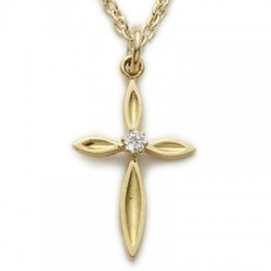 """CZ Jewel Cross 24K Gold Over Sterling Silver Crystal Necklace w/18"""" Chain - Boxed"""