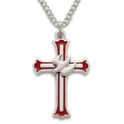 """Holy Spirit Dove Cross Sterling Silver Inspirational Necklace w/18"""" Chain - Boxed"""