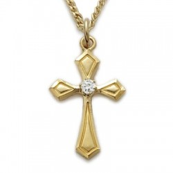 "CZ Jewel Cross 24K Gold Over Sterling Silver Crystal Necklace w/18"" Chain - Boxed"