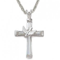 """Silver Holy Spirit Dove on Cross Sterling Silver Crystal Necklace w/18"""" Chain - Boxed"""