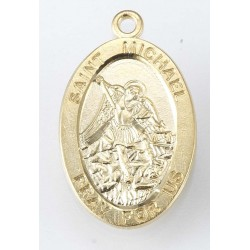 """St. Michael Gold Over Sterling Silver Oval Medal w/20"""" Chain - Boxed"""