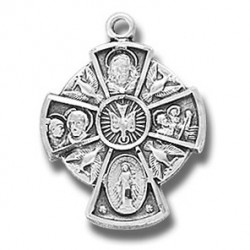 "Sterling Silver Small Holy Spirit 4 Way w/18"" Chain - Boxed"