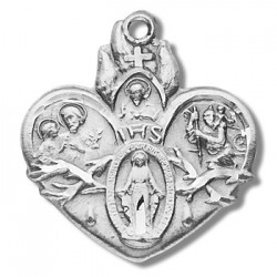 "Sterling Silver Sacred Heart of Jesus 4 Way w/18"" Chain - Boxed"