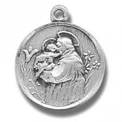 """St. Anthony Sterling Silver Small Round w/18"""" Chain - Boxed"""
