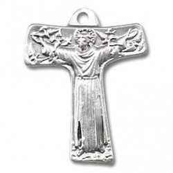 """St. Francis Tao Cross Sterling Silver w/18"""" Chain - Boxed"""