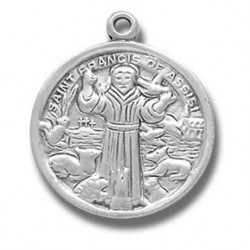 """St. Francis of Assisi Sterling Silver Small Round w/18"""" Chain - Boxed"""