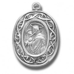 """St. Anthony with Crown of Thorns Sterling Silver w/18"""" Chain - Boxed"""