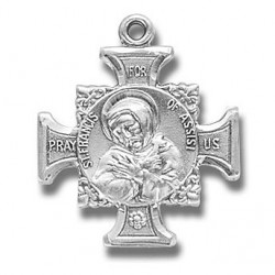"""St. Francis & St. Anthony Sterling Silver Cross w/18"""" Chain - Boxed"""