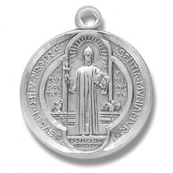"""St. Benedict Sterling Silver Round Medium w/24"""" Chain - Boxed"""