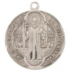 """St. Benedict Sterling Silver Large Round w/24"""" Chain - Boxed"""