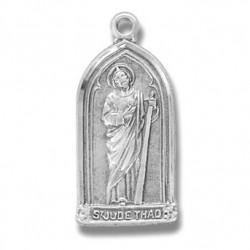 """St. Jude Sterling Silver Gothic w/18"""" Chain - Boxed"""