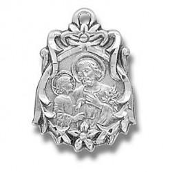 """St. Joseph Sterling Silver Fancy w/18"""" Chain - Boxed"""
