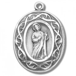 """St. Jude with Crown of Thorns Sterling Silver w/18"""" Chain - Boxed"""