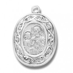 """St. Joseph with Crown of Thorns Sterling Silver w/18"""" Chain - Boxed"""