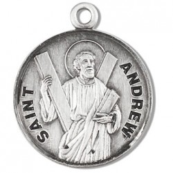 """St. Andrew Sterling Silver Round w/20"""" Chain - Boxed"""