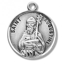 """St. Augustine Sterling Silver Round w/20"""" Chain - Boxed"""