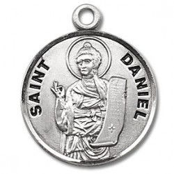 """St. Daniel Sterling Silver Round w/20"""" Chain - Boxed"""