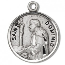 """St. Dominic Sterling Silver Round w/20"""" Chain - Boxed"""