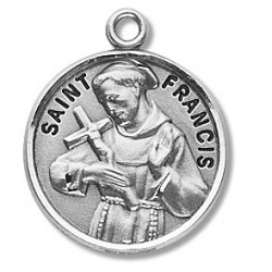 """St. Francis Sterling Silver Round w/20"""" Chain - Boxed"""